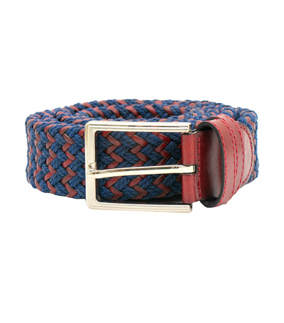 oleg cassini man mixed leather woven belt with buckle burgundy and blue