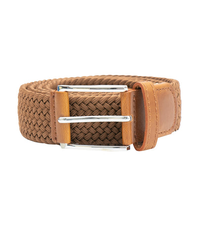 oleg cassini man elastic woven belt with leather buckle brown