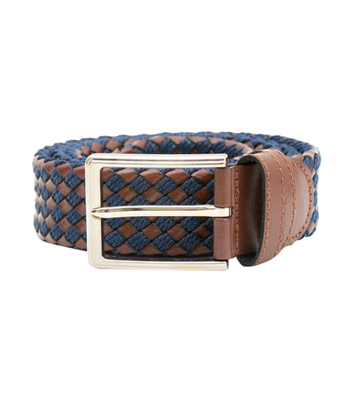 oleg cassini man mixed leather woven belt with buckle brown and blue