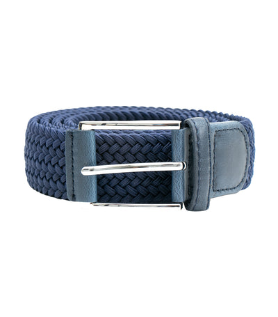 Elastic Woven Belt with Leather Buckle Blue