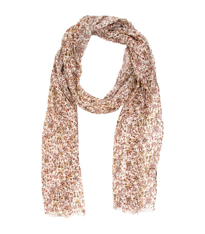 Linen and Modal Foliage Printed Scarf Beige