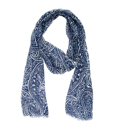 ad&c 1956 milano linen and modal paisley printed scarf navy and white