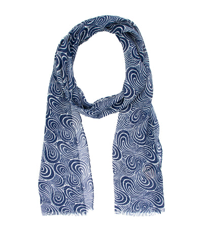 Linen and Modal Wave Printed Scarf Blue