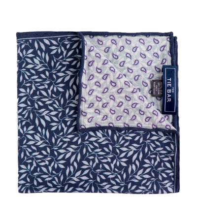 the tie bar sprout paisley pocket square navy