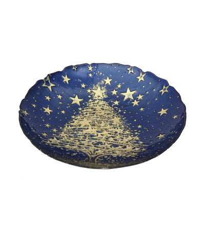akcam christmas bowl gold blue
