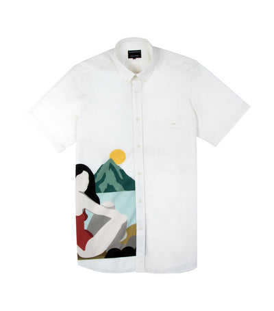 watt muse print short-sleeved dress shirt