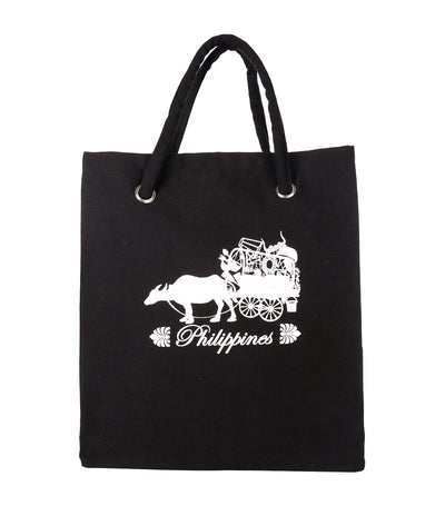 rustan's filipiniana our very own black canvas bag with carabao