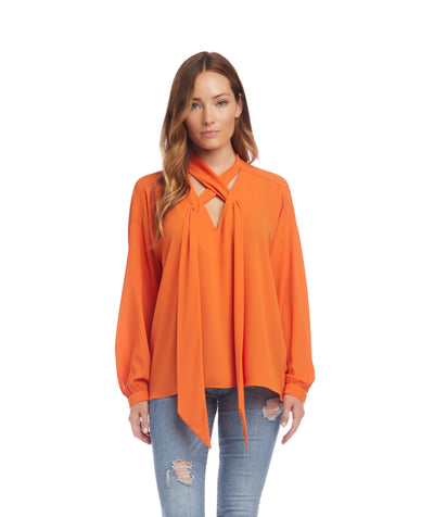 karen kane tie-neck top - orange