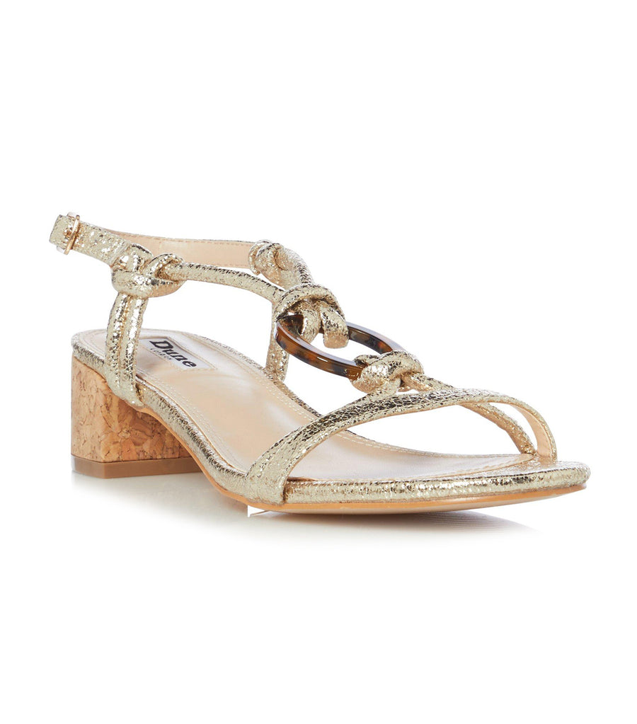 Janiita Low Block Heel Sandals Gold