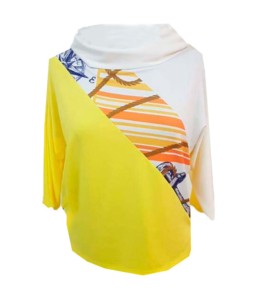 Laroche Jersey Cowl Nautical Blouse Yellow