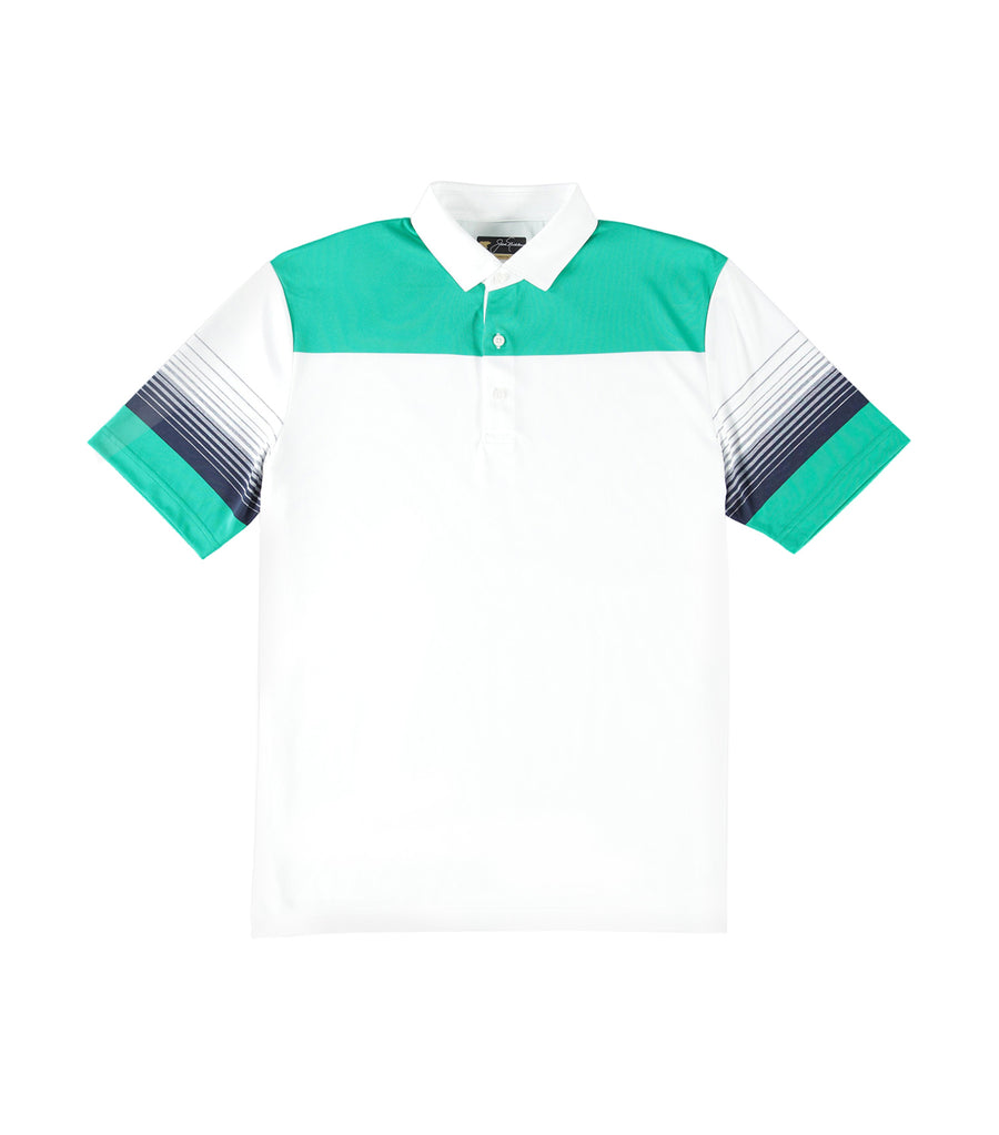 Yarn Dye Striped Polo Shirt Bright White