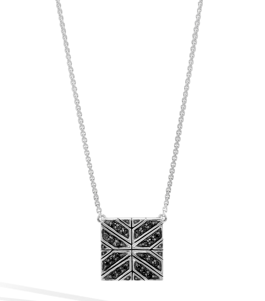 john hardy modern chain black sapphire square pendant necklace
