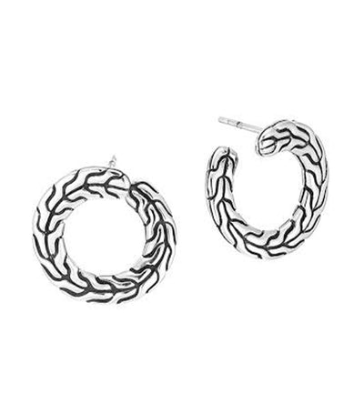 John Hardy Classic Chain Round Carved Earrings Silver