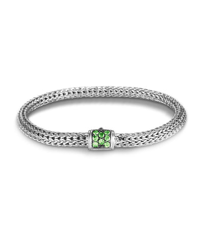 John Hardy Classic Chain Silver Lava Extra Small Station Bracelet Silver and Tsavorite