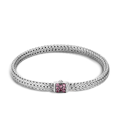 John Hardy Classic Chain Silver Lava Extra Small Station Bracelet Silver and Pink Spinel