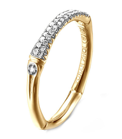 John Hardy Bamboo Slim Band Ring 18k Yellow Gold and Pavé Diamonds