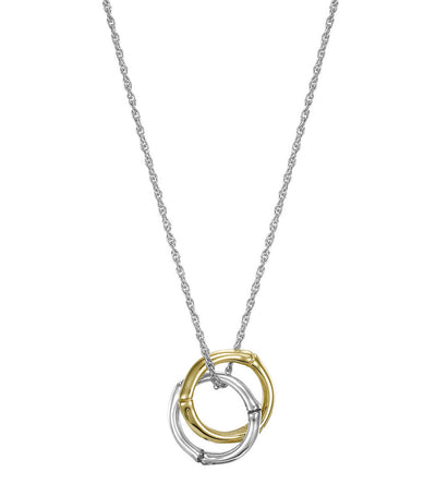 John Hardy Bamboo Small Round Interlinking Pendant on Chain Gold and Silver
