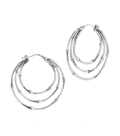 John Hardy Bamboo Medium Side Facing Orbital Hoop Earrings Silver