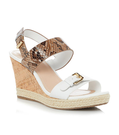 Kendyl Leather Wedge Sandals White