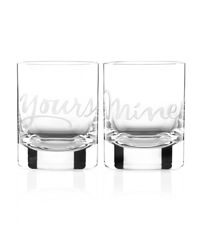 kate spade new york two of a kind yours and mine double old-fashioned glass set