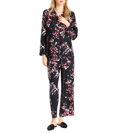 Matsuri Notch Pajama Set Black/Pink Bloom