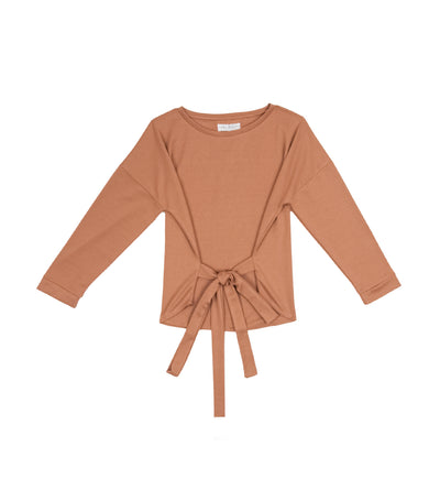 Lady Rustan Jojo Long-Sleeved Pullover with Sash Light Brown