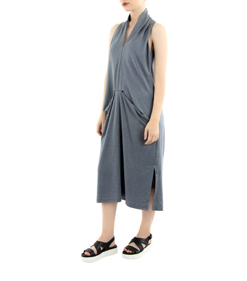 lady rustan krizia sleeveless midi dress gray