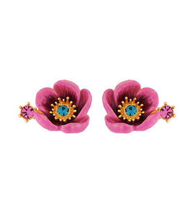 les néréides pink flower with rhinestone pistil earrings