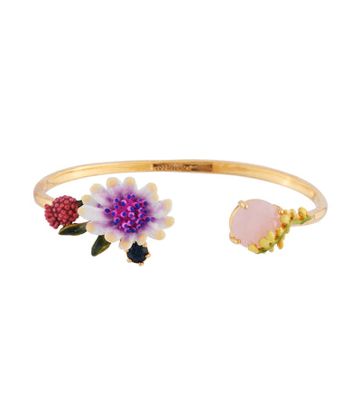 les néréides white flower with pink and blue pistil and faceted crystal bangle