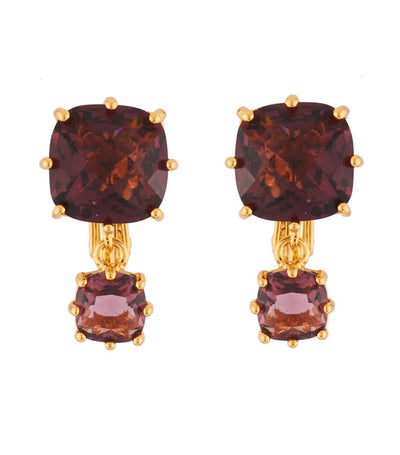 les néréides double plum square stone clip-on earrings