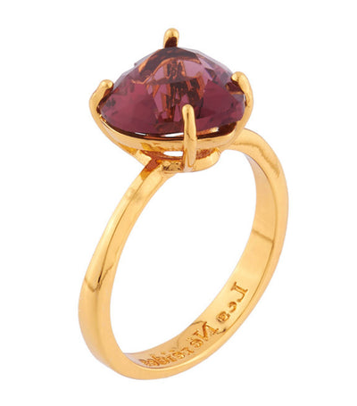 les néréides small heart shaped plum stone ring