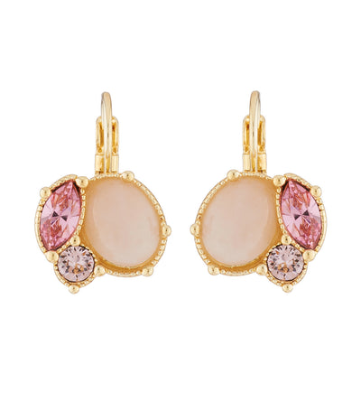 les néréides quartz and pink rhinestone dormeuse earrings