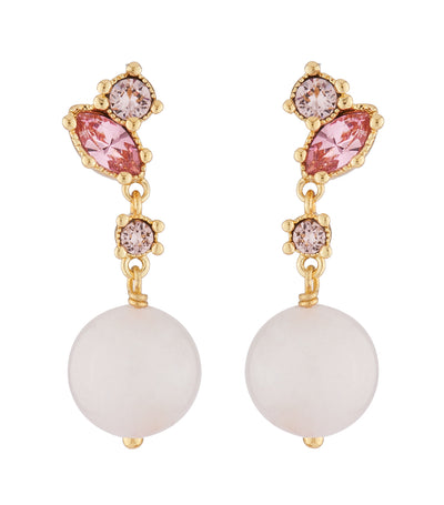 les néréides quartz pearl and pink rhinestone dangling stud earrings