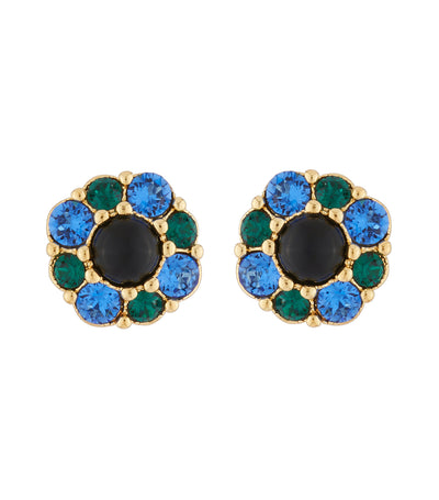 les néréides flower with blue and green rhinestone stud earrings