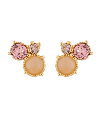 les néréides 3 pink stones stud earrings
