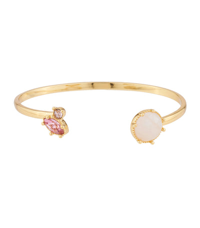 les néréides quartz and pink rhinestone bangle bracelet