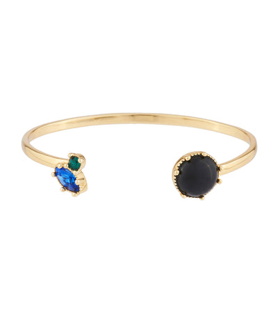 Onyx Stone And Blue And Green Rhinestone Bangle Bracelet