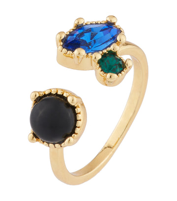 les néréides you and i onyx and blue and green rhinestone ring