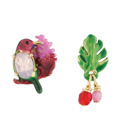 les néréides hummingbird, exotic flowers and crystal asymmetrical stud earrings