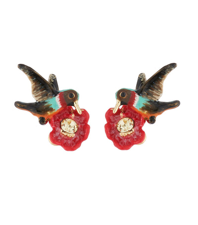 les néréides hummingbird and exotic flower stud earrings