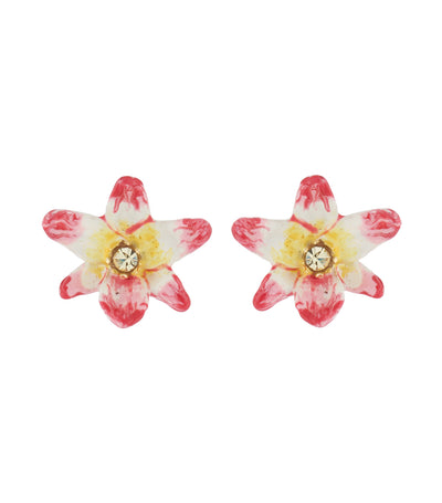 les néréides tropical flower and crystal stud earrings
