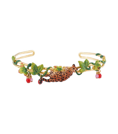 les néréides ocelot, tropical leaves and crystals cuff bracelet