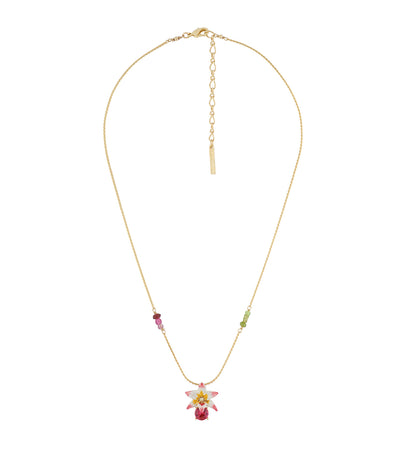 les néréides tropical flower, carved crystal and crystals long necklace