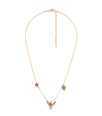 les néréides hummingbird with exotic flowers long necklace
