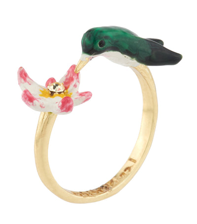 les néréides hummingbird and tropical flowers adjustable ring