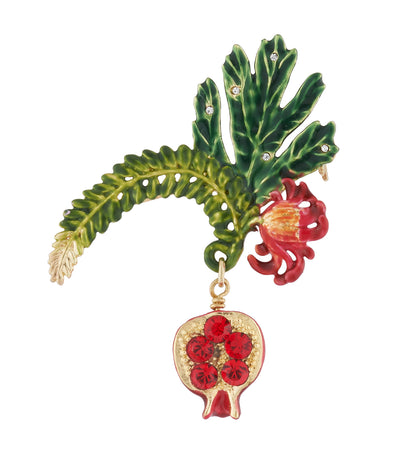 les néréides passion flower and pomegranate brooch
