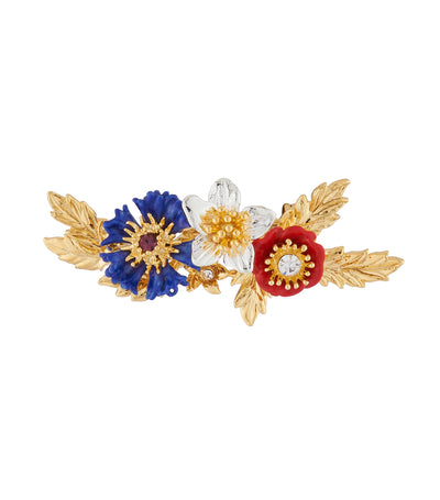 les néréides cornflower, poppy and cosmos brooch