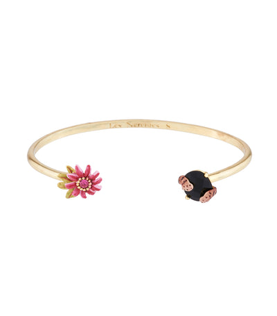 les néréides exotic flowers, corals and natural stone bangle bracelet