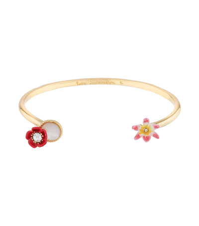 les néréides poppy, white flower and mother-of-pearl bangle bracelet