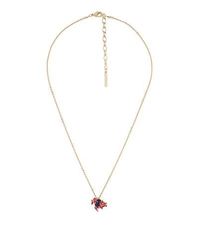 les néréides exotic flowers, coral branch and lapis lazuli stone long necklace